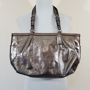 Coach metallic East West large leather tote bag